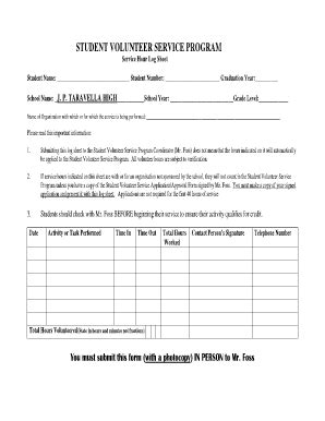 community service documentation form template service learning time log sheet forms and templates