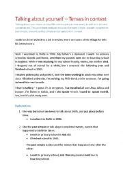 biography in context home english worksheets tenses in context biography and job