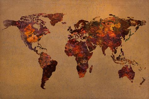 Vintage Antique Home Decor by Rusty Vintage World Map On Old Metal Sheet Wall Mixed