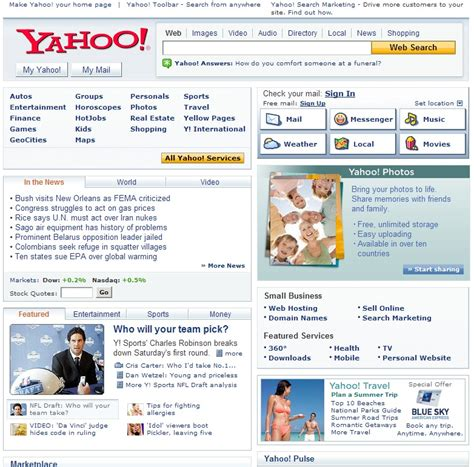 yahoo homepage in two flavors