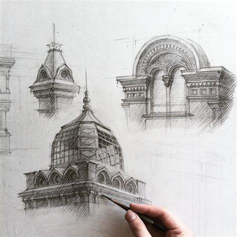 B Arch Sketches by These Freehand Architectural Sketches Show A