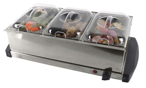 electric food warmers buffet new stainless steel electric 3 pan buffet food server warmer plate tray ebay