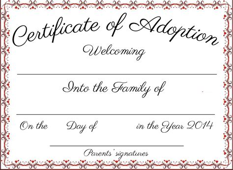 puppy adoption certificate my pet