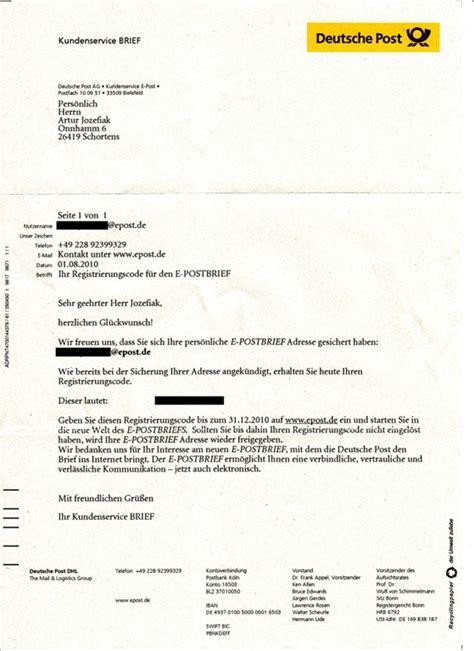 Reklamation Brief Deutsche Post Post Der Deutschen Post Die Entg 252 Ltige Registrierung Zur E Postbrief Adresse Aguart