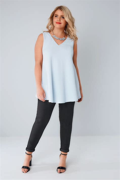 sleeveless swing top pale blue sleeveless swing top plus size 16 to 36
