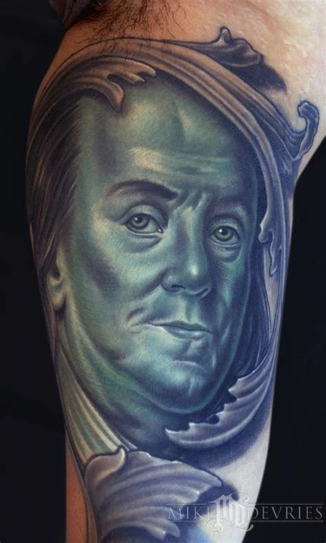 benjamin franklin tattoo mike devries tattoos portrait ben franklin