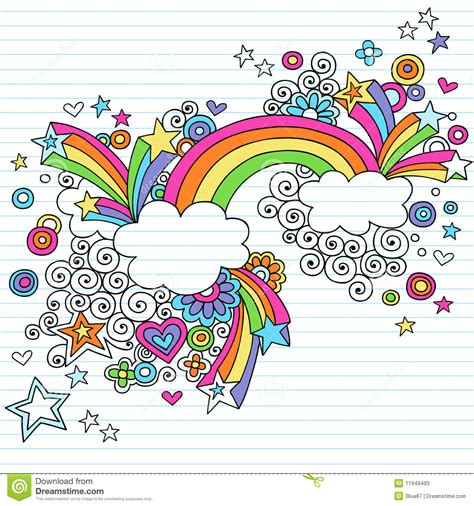 rainbow doodle drawing psychedelic rainbow notebook doodle vector stock photos