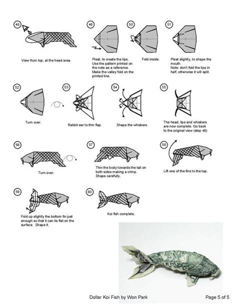 Dollar Fish Origami - koi fish diagram 5 of 5 money origami dollar bill