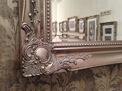 large antique silver elegant wall mirror  uk postage