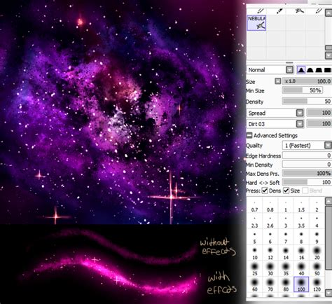 paint tool sai glitter tutorial sai brush nebula galaxy by nefur studios on deviantart