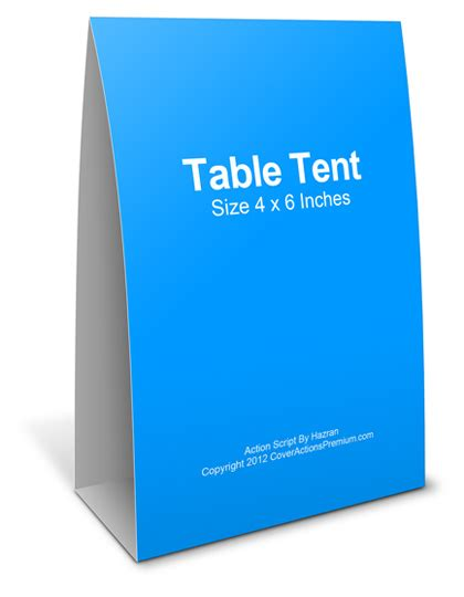 4x6 table tent template table tent mockup script cover actions premium