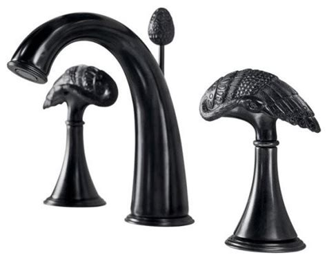 Black Bathroom Faucets Kohler K 610 6b Kb Finial Avian Widespread Lavatory Faucet In Black Iron Traditional
