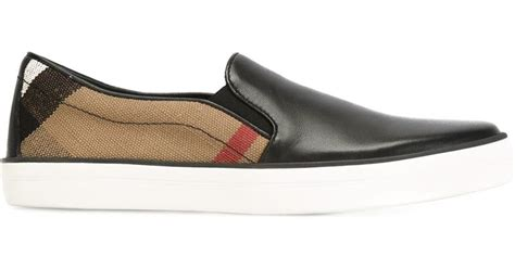 burberry gauden checked slip on sneakers in black lyst