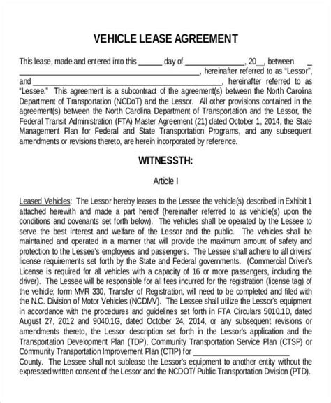 commercial vehicle lease agreement template truck lease agreement sle 11 exles in word pdf