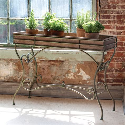 Garden Table Planter by Potting Console Table Eclectic Outdoor Pots And Planters Atlanta By Iron Accents