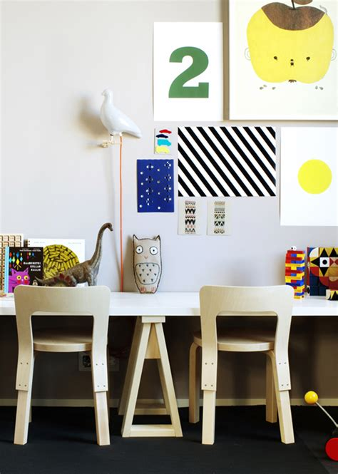 kid wall decor desk with gallery wall