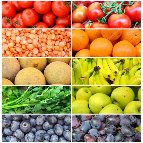 colorful fruit collage of different healthy organic colorful fruit and