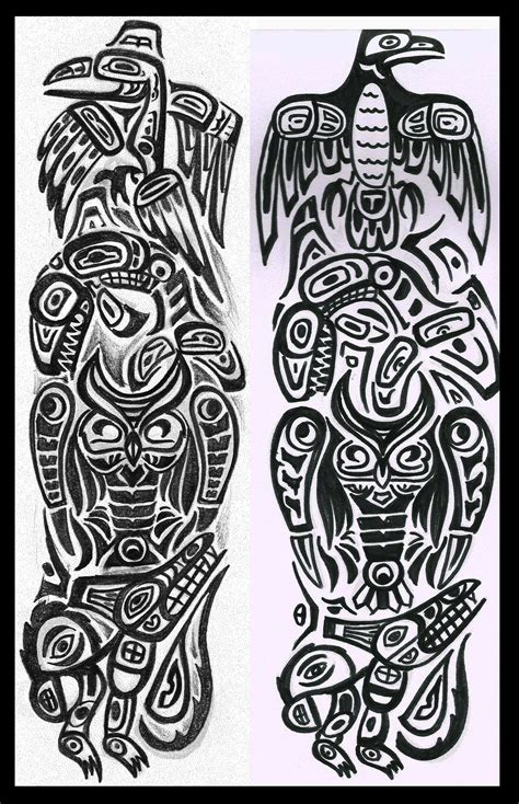 owl tattoo totem totem pole raven killer wale owl and wolf tattoo concept
