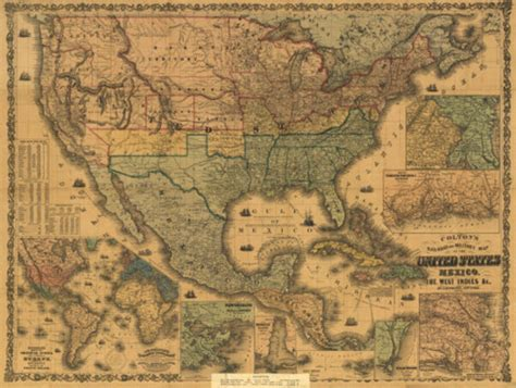 map usa historical u s mexico and west indies map 1862