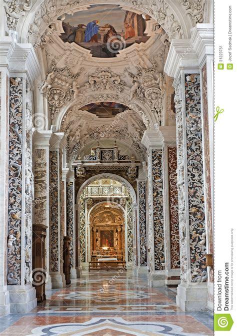 Casa Professa by Palermo Side Nave In Church La Chiesa Gesu Stock