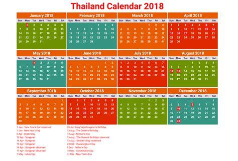 printable calendar 2018 thailand 2018 printable calendar with thailand holidays free
