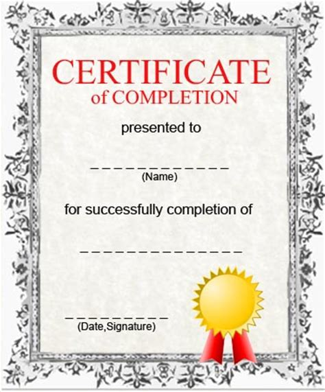 completion certificate template free certificates of completion certificate templates
