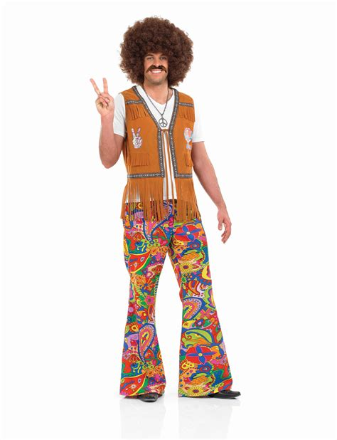 Mens 60S Psychedelic Flares Costume for 70s Hippie Hippy