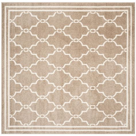 Square Indoor Outdoor Rugs Safavieh Amherst Wheat Beige 5 Ft X 5 Ft Indoor Outdoor Square Area Rug Amt414s 5sq The Home