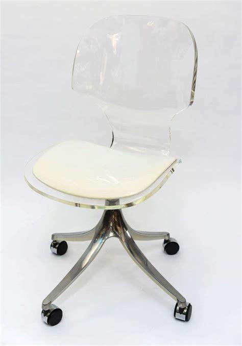 lucite desk chair stunning 1960 s lucite desk chair on chrome swivel base at