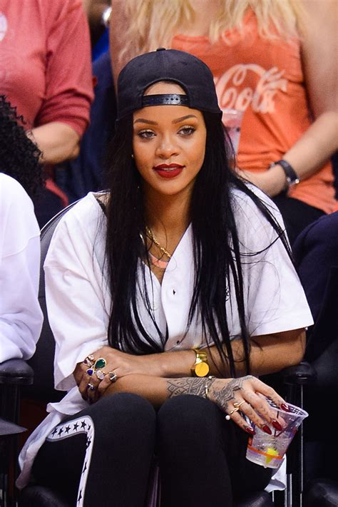 rihanna hairstyles games rihanna shows off new pink hair at basketball game with