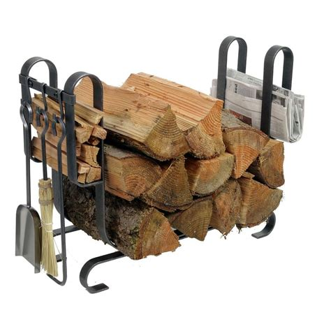 enclume large modern log rack fireplace tools with