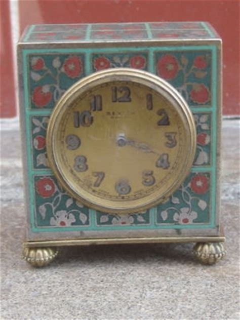 Rueben The Robot Vintage Travel Alarm by Antique 19c Zenith Miniature Enamel Carriage Travel