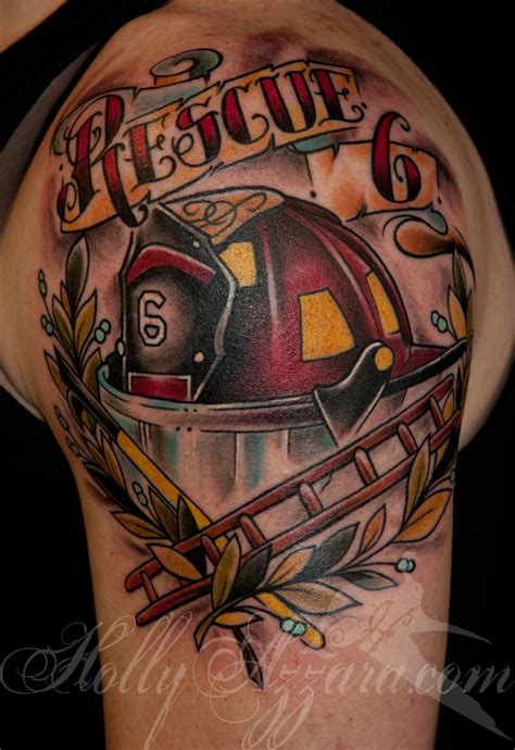 fire truck tattoos designs traditional helmet memorial by azzara tattoos