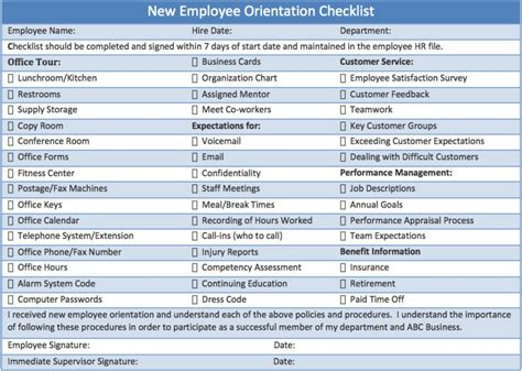 New Program Template Printable Checklist Template Sle For New Employee