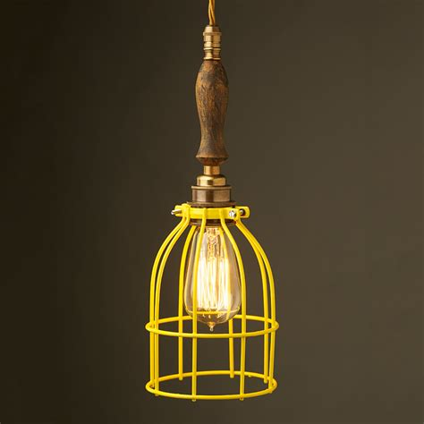 Cage Pendant Light Brass Trouble Light Cage Pendant Wooden Handle
