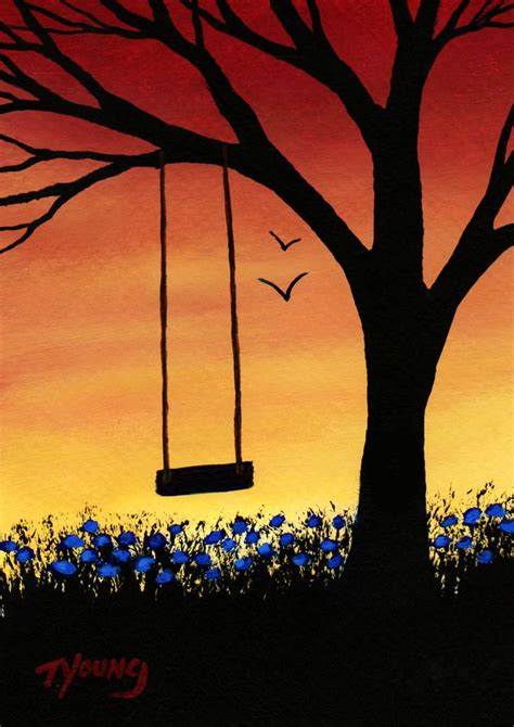 swing painting tree swing modern folk art print of todd young painting