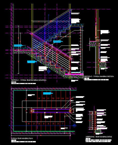 CAD DETAILS : HANDRAIL / BALUSTRADE   STEEL FIXED AGAINST