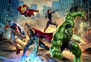 Marvel Comics Wall Mural Street Fighting Avengers Marvel Comics Photo Wallpaper