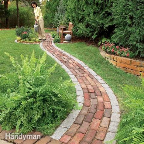 backyard walkway ideas build a brick pathway in the garden the family handyman