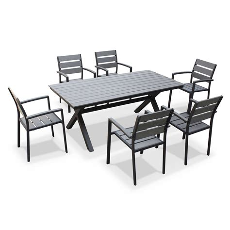table de jardin cdiscount salon de jardin aluminium polywood 6 places la crau