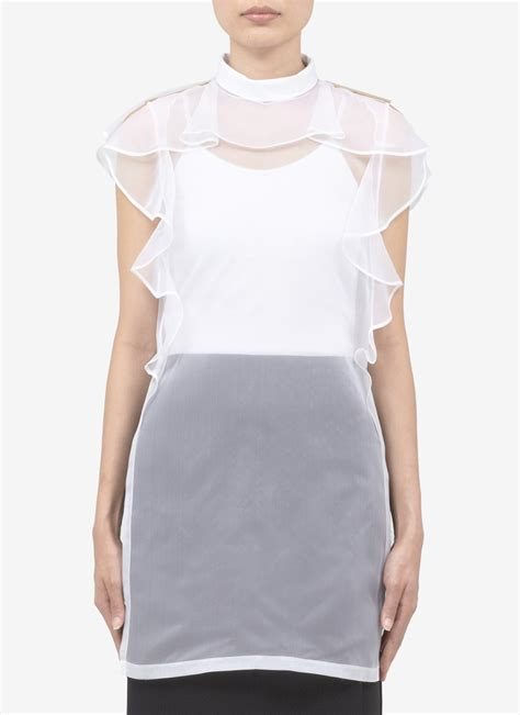New Blouse Organza 1 givenchy ruffle and hardware detail silk organza blouse in