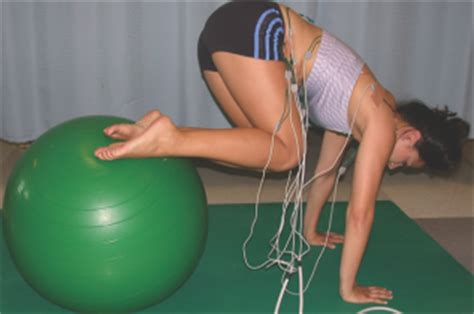 core muscle activation  swiss ball  traditional