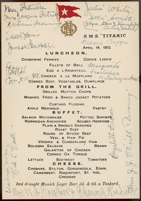 titanic menu titanic luncheon menu signed by passengers 14 april 1912 unknown royal museums greenwich