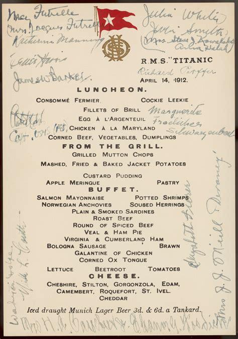 titanic menu titanic luncheon menu signed by passengers 14 april