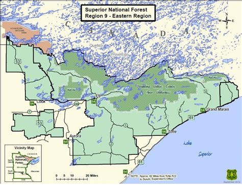 national forest map superior national forest