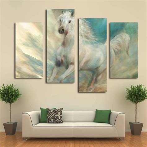 bedroom canvas art beautiful white horse canvas art prints modern wall