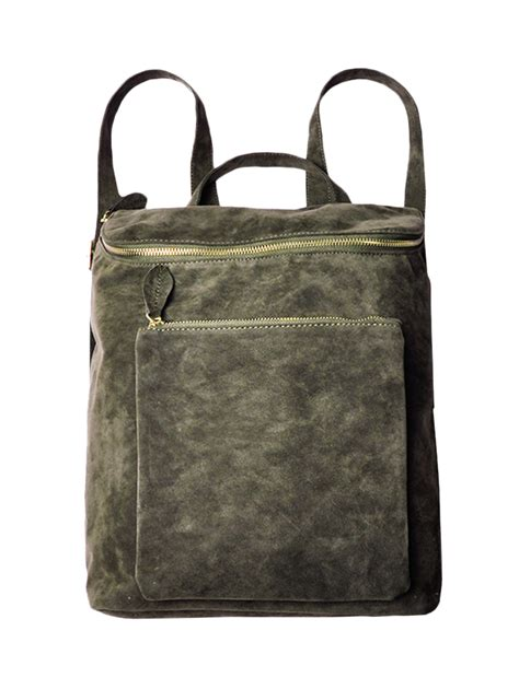 Leisure Travel Backpack Army Green army green leisure suede zips backpack nastydress