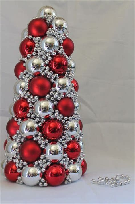 christmas tree made out of ornaments ornament tree out of styrofoam cone tutorial easy to make and cost