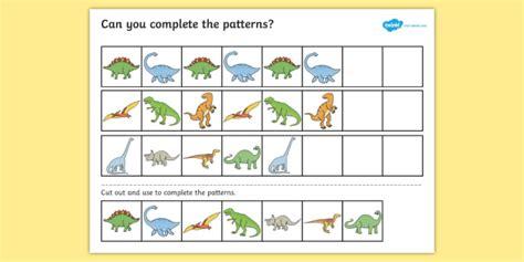 pattern worksheets eyfs dinosaur complete the pattern worksheet activity sheet