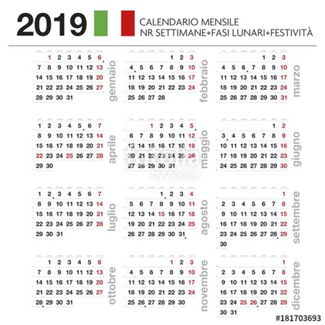 Calendario 2019 Italiano Quot Calendario Mensile Italiano 2019 Con Lune Festivit 224 E Nr